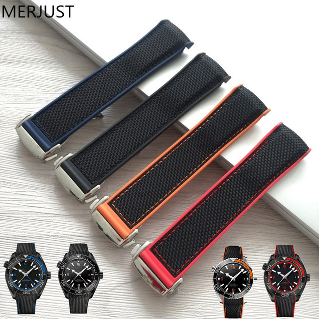 MERJUST  20 22mm Wholesale Rubber Silicone With Nylon Replacement Watch Band Strap Belt For OMEGA Planet Ocean  blue black red