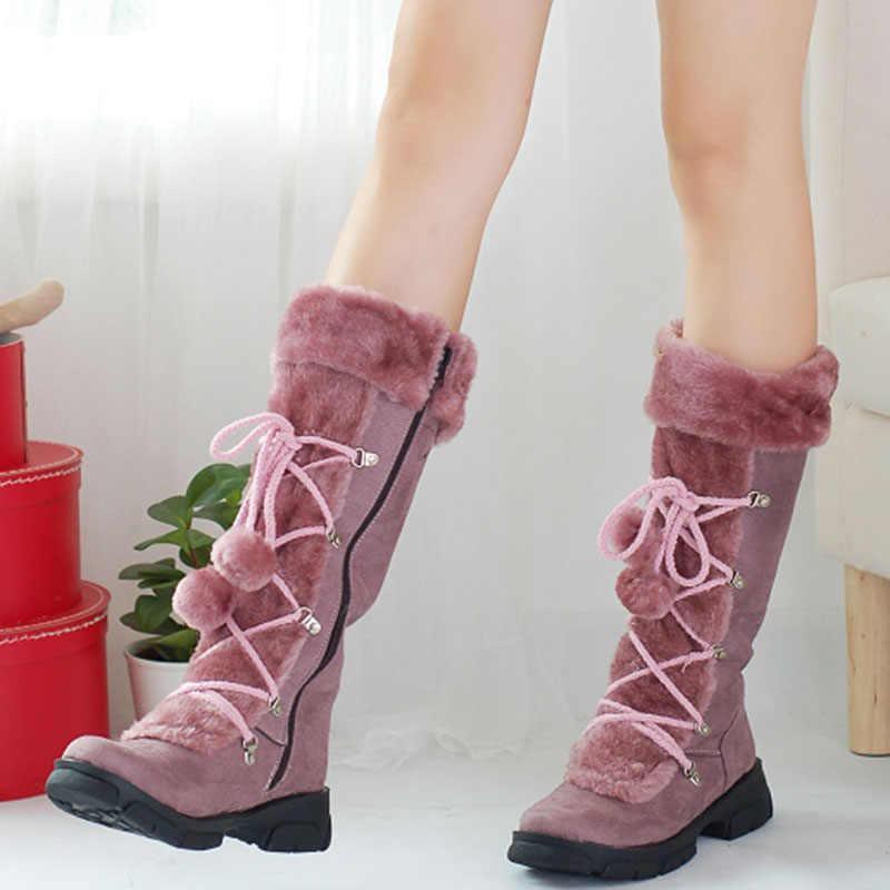 Taoffen 5 Farben frauen Winter Schuhe Frau Hinzufügen Warme Pelz Mitte Kalb Stiefel Plattform Lace Up Schuhe Plüsch Schnee stiefel Größe 32-43