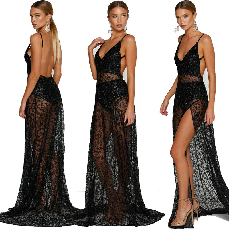 08dce243af175d Sexy Women Sheer Lace Maxi Dress Party Evening Club V Neck Long Backless  Lace Dress Solid Black Sexy-in Dresses from Women's Clothing on  Aliexpress.com ...