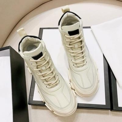Marca Señoras Salvaje Cuero Diseño Casuales Encaje Mujeres Lujo Invierno Altos Gruesa 2018 Moda Las De Nueva Retro Zapatos B5xqxwA