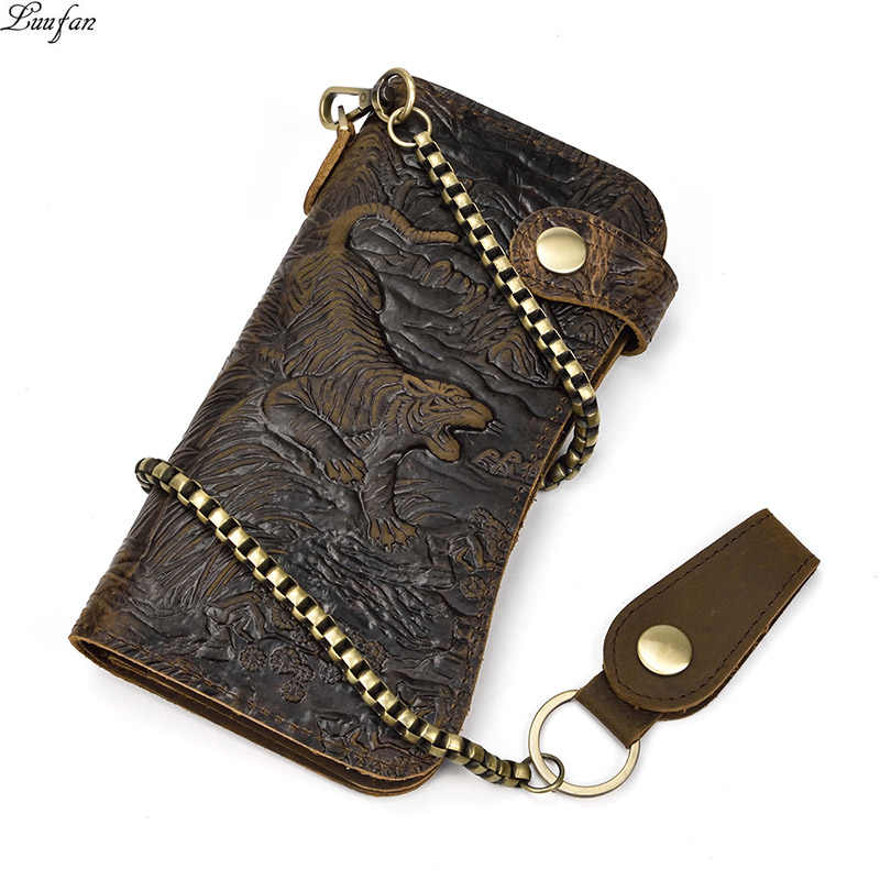 Men's genuine leather wallet chain Snap bifold purse crazy horse leather card case Phone card holder clutch tiger dragon wallet
