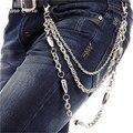 """26 """"-Tres Strand Cadena de Plata Bala del Metal de la Motocicleta Conjunta 3 Capas Cadena de Punk Mujeres de Los Hombres de Los Pantalones Vaqueros de Cintura cadena KB16"""