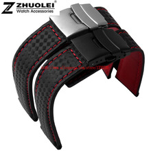 new arrivals black with red stitches carbon fibre lines watchband with double insurance folding buckle 20mm 22mm watch straps