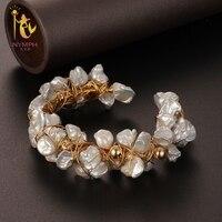 [Нимфа] жемчужные браслеты природный жемчужные украшения в стиле барокко натуральный пресноводный жемчуг браслет для женщин S311