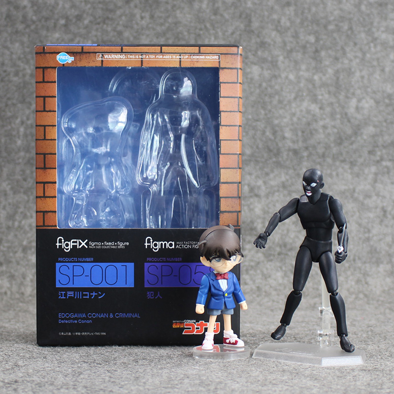 13cm Detective Conan Action Figures FigFix Figma Model Toys Japanese Anime Figures Detective Conan With Criminal anime cartoon detective conan figfix sp 001 figma sp 058 pvc action figure collectible model toy 14cm