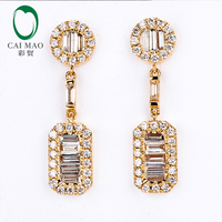 Caimao Jewelry 14k Yellow Gold 1.15ct Natural Diamonds Engagement Drop Earrings