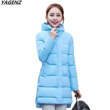 2017 Women Warm Jacket Winter Coat New Medium-Long Down Cotton Parka Plus Size Coat Slim Ladies Casual Clothing YAGENZ K502