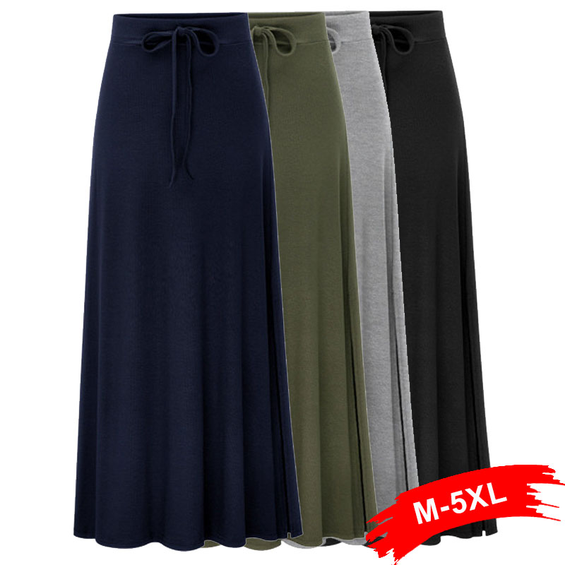 Plus Size Knitting Flare <font><b>Skirts</b></font> 3Xl 4Xl <font><b>5Xl</b></font> Spring Army Green Lace Up Elastic Waist <font><b>Sexy</b></font> Push Up Hip Slim Large Size Long <font><b>Skirts</b></font> image