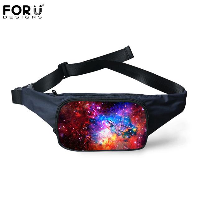 Forudesigns 2017 nueva llegada de la moda cintura bolsas 3d galaxy/espacio star patrón mujeres hombres bolsa de viaje de lona paquetes de la cintura fanny paquete