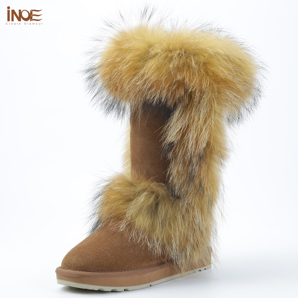 INOE real fox fur cow suede leather winter snow boots for women winter shoes tall boots high quality 35-44 non-slip rubble sole inoe fashion big fox fur real cow split leather high winter snow boots for women winter shoes tall boots waterproof high quality