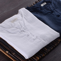 Chinese Style Italy Brand Shirt Men Linen White Shirts Men Summer Short Sleeved Flax Solid Shirt