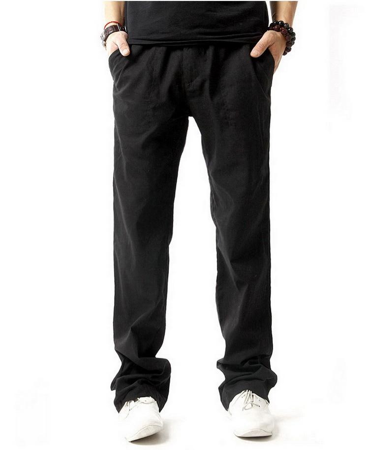 Pantalon hommes en lin et coton noir