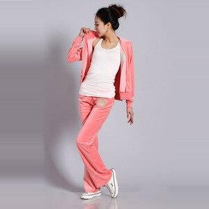 Image 3 - Chándales de tela de terciopelo para mujer, traje de terciopelo, chándal, Sudadera con capucha y pantalones, talla S XXL, Primavera/otoño 2020