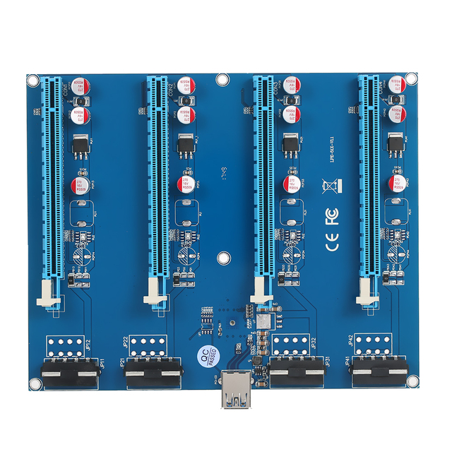 PCI-E 1 to 4 PCI Express 16X Slots Riser Card Mining Modules PCI-e 1X to External 4 PCIe Slots Adapter Pcie Port Multiplier