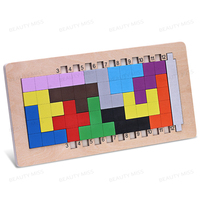 Colorful Wooden Tangram Tetris Game Brain Teaser Puzzle Toys Preschool Imagination Educational Toy Thinking Of The