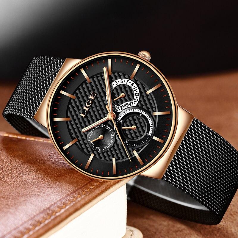 LIGE New Fashion Mens Watches Top Brand Luxury Quartz Watch Men Casual Slim Mesh Steel Waterproof Sports Watch Relogio Masculino