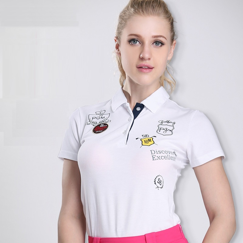 Golf womens solid polo t shirts golf clothes cotton anti for Womens golf shirts xxl