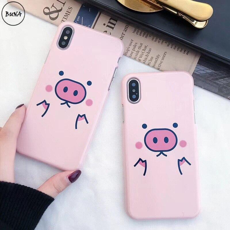 Fashion Pink Cute Pig Comme des Garcons Hard Matte plastic case for iphone X 5S SE 6s 6 7 Plus 8 8plus 10 cover