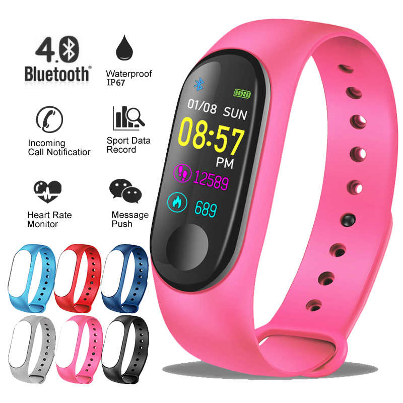 Ini 2019 Baru Smart Sport Watch Wanita Heart Rate Tekanan Darah Monitor Smart Gelang Kebugaran Tracker Pedometer PK M3 Band + Kotak