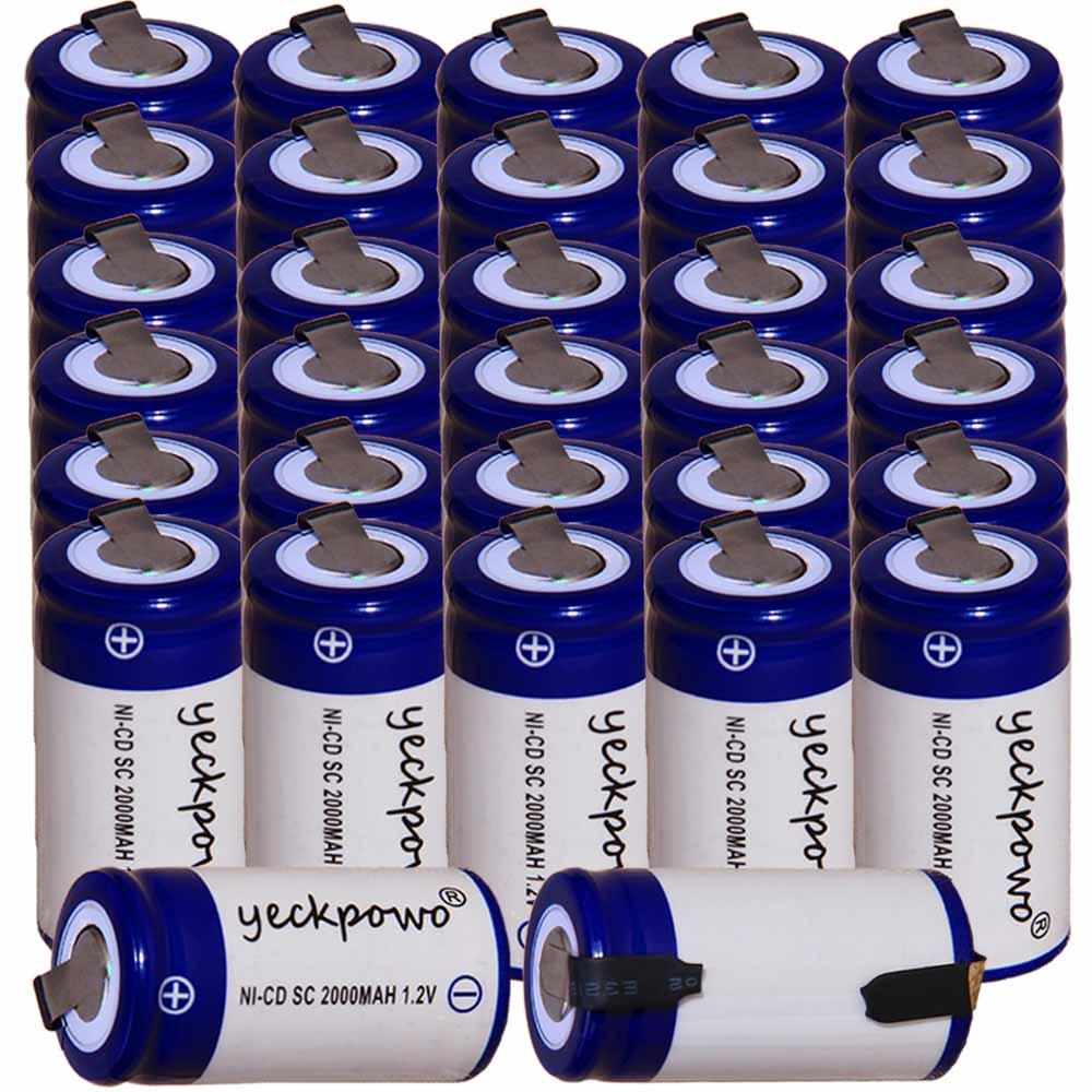 Prix le plus bas 32 pièces SC batterie 1.2 v batteries rechargeables 2000 mAh nicd batterie pour outils électriques akkumulator