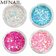4jars/set 2Kind 1mm/2mm Nail Sequins Round Spangles Sparkly Glitter Powder Flakes Manicure Iridescent 3D Art Paillette