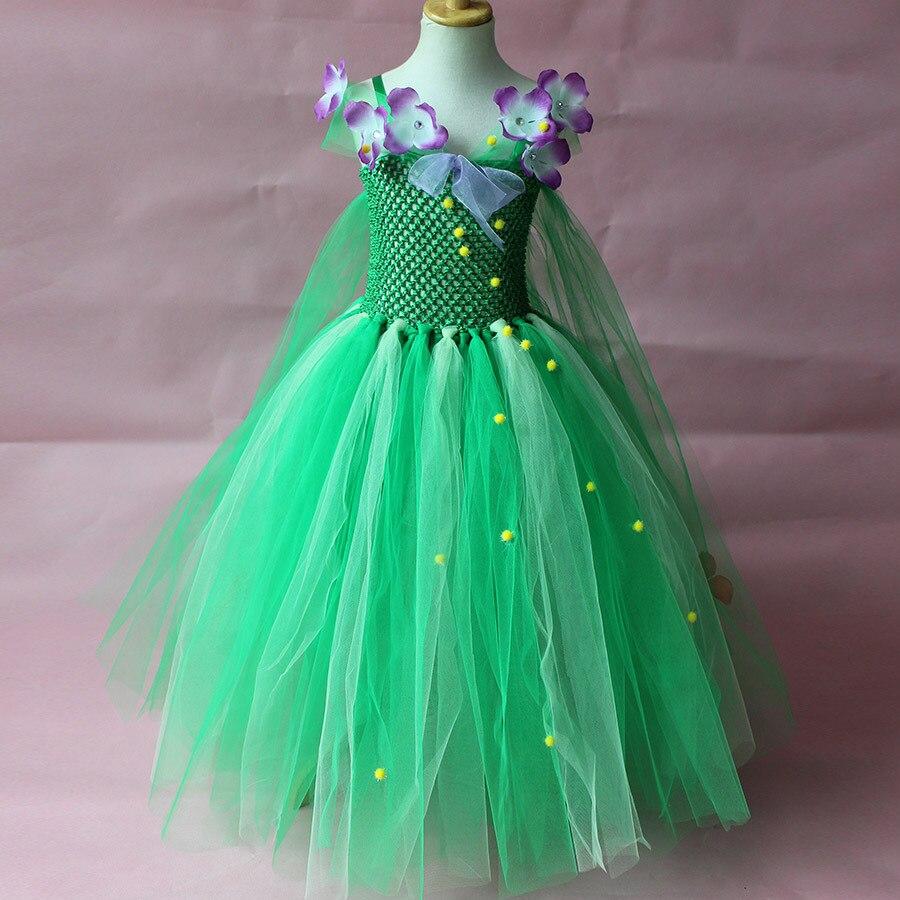 Cute Children Evening Dresses for Christmas Kids Party Wear for Girls Long Ball Gowns Green Crochet Little Girls Flower Gown