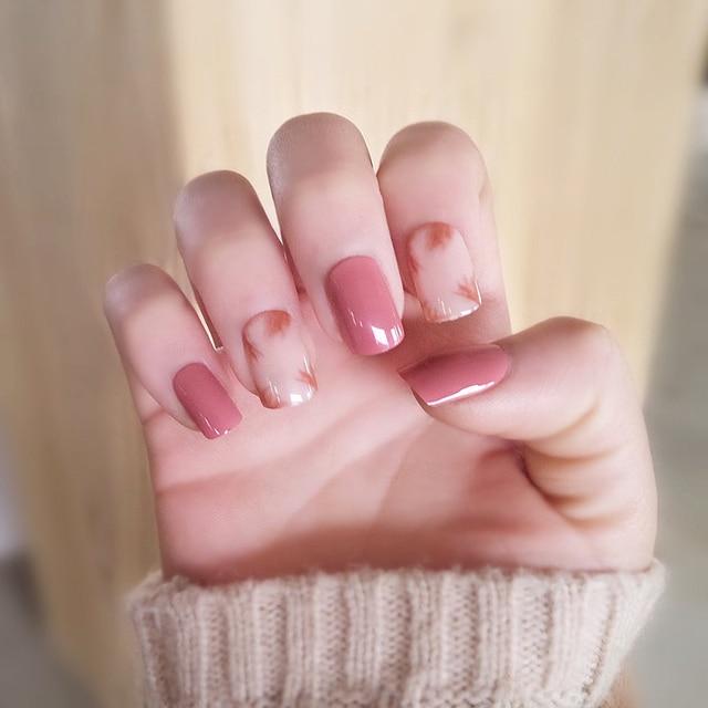 Red bean pink cream pure color halo fake nails Japanese cute false ...