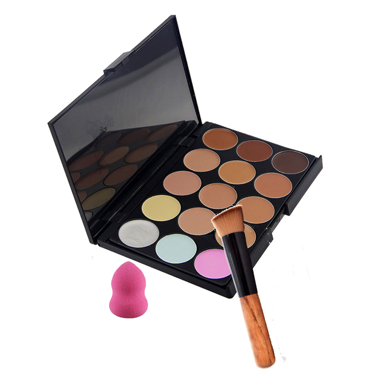 15 colors concealer palette cream makeup sets with powder brush pincel maquiagem water sponge puff separately