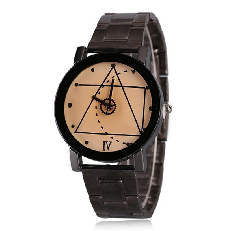 Mens Women's Stainless Steel Analog Wrist Watch Black Luxury Elegant Compass Roman Numerals Montre Femme Dress Watches Shellhard