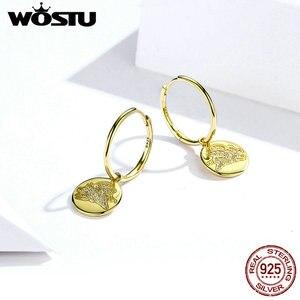 Image 4 - WOSTU 100% gerçek 925 som gümüş damla küpeler altın renk mutlu ve güzel CZ uçan Piggy küpe düğün hediye CTE225