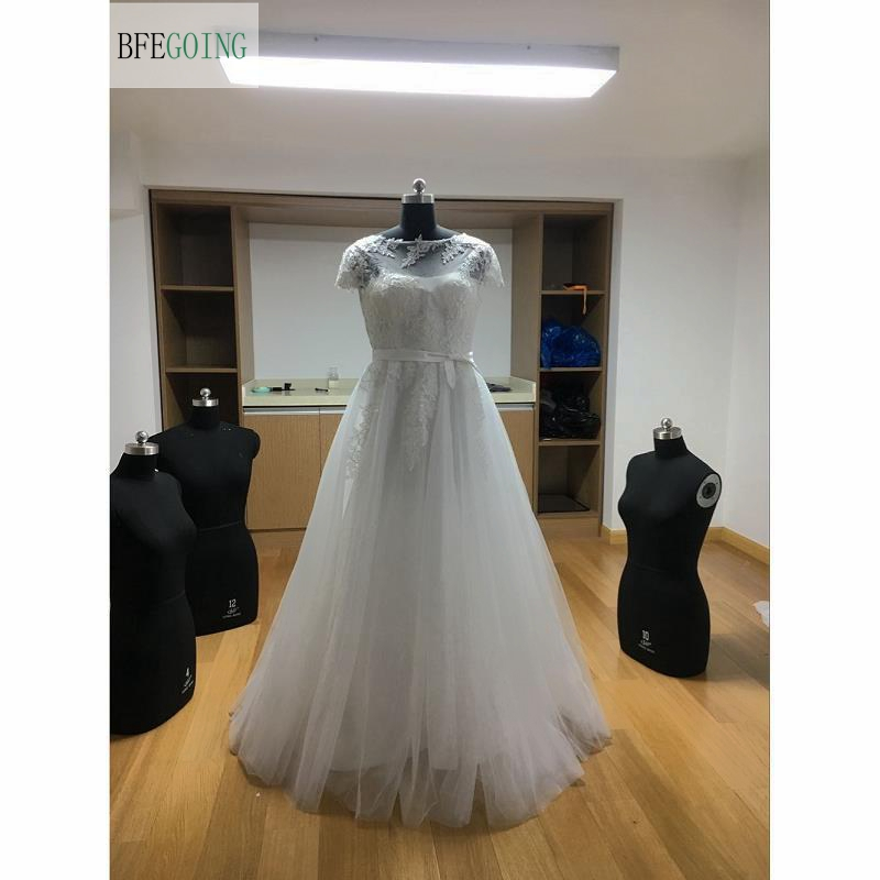 White Lace Tulle Satin Scoop Floor Length A line Wedding dresses Cap Sleeves Bridal Gown Custom