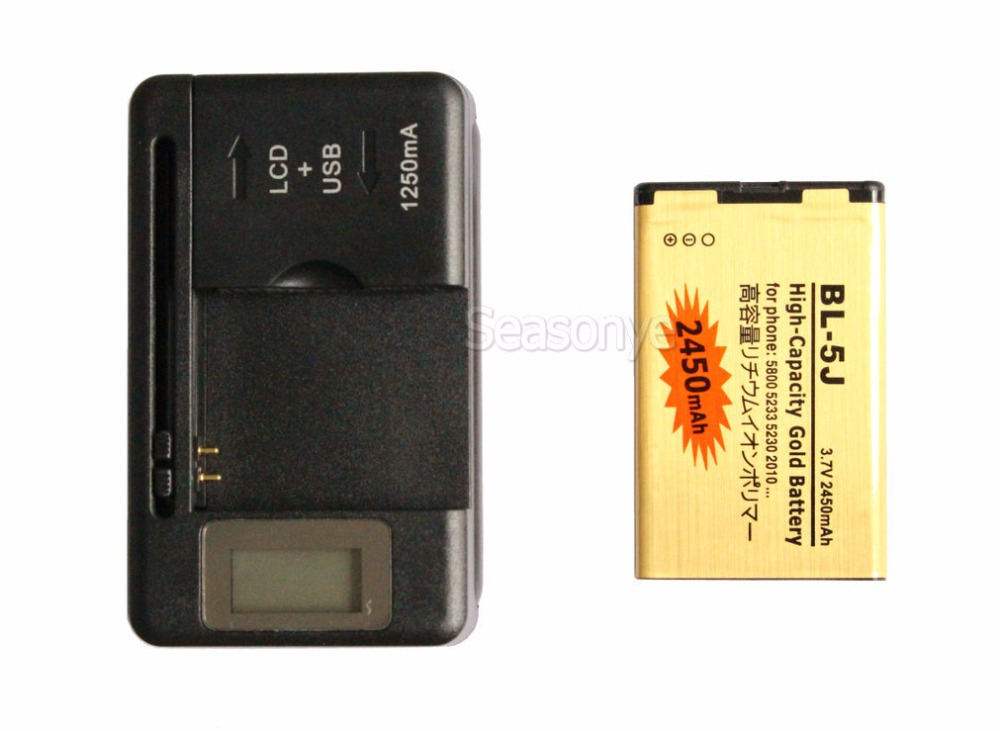Seasonye 2450mAh BL-5J Gold Replacement Battery + LCD Charger For Nokia 5800 5802xm 5900xm X9 Nuron X6 Nuron 5233 5235 X6m 5228