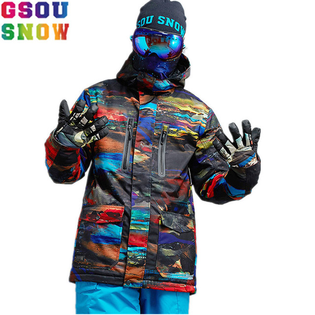 8bdf07ef47 GSOU SNOW Snowboard Jacket Men Winter Ski Jacket Waterproof Windproof Mountain  Skiing Jakcets Outdoor Sport Snow Coat -30 Degree