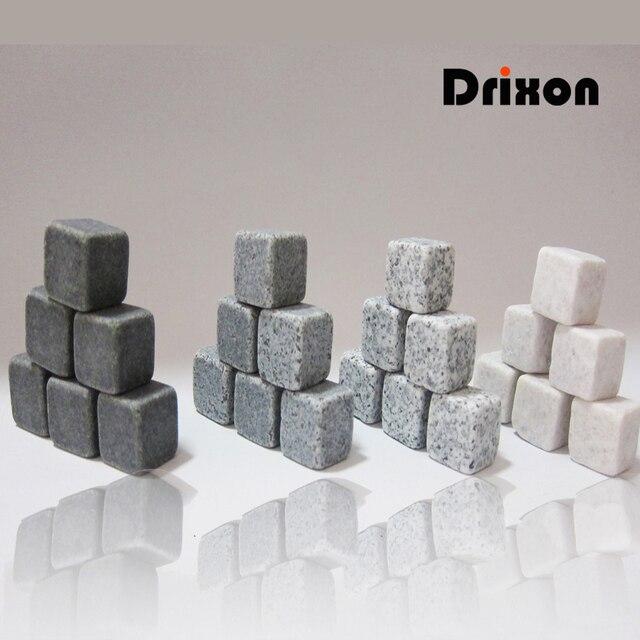 Drixon (6/9 pc Set) 100% Alami Whiskey Stones Menyeruput Es Batu Wiski Batu Wiski Batu Dingin Hadiah Pernikahan Favor Natal Bar