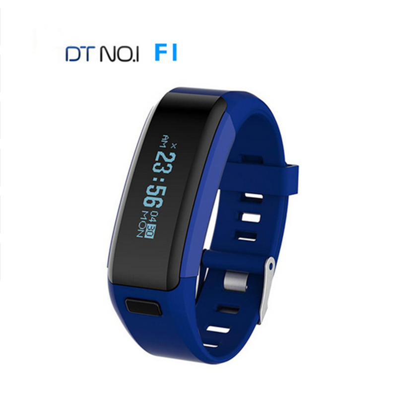 DTNO 1 Smartband F1 Waterproof Silicone Material font b Wristbands b font Sports OLED Heart Rate