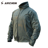 S.ARCHON Soft Shell Windbreaker Military Men Jacket Camping Breathable Lightweight Tactical Jacket Waterproof Army Hiking Coat