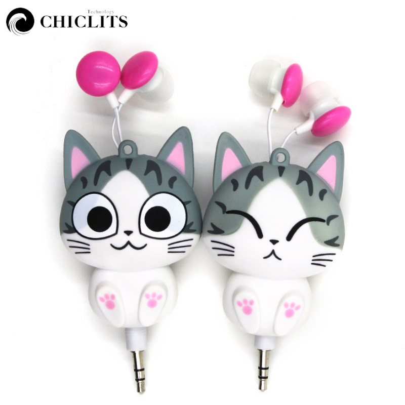 In-ear New Cute Earphones Cartoon Panda Cheese Cat Chi Sweet Home Earphone Retractable Automatic Headset for Iphone Android cute cartoon cat claw style in ear earphones for mp3 mp4 more blue white 3 5mm plug