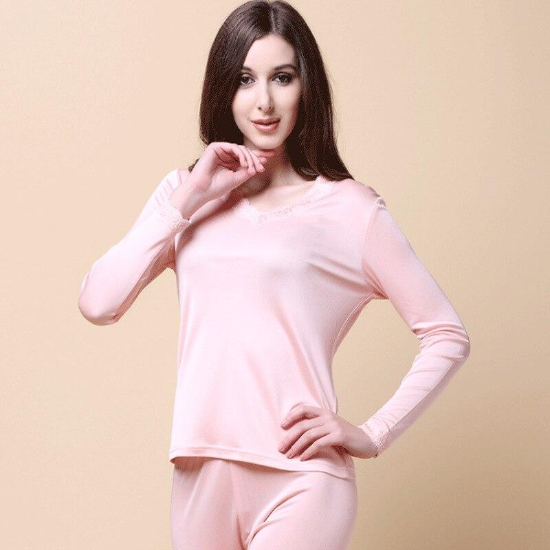 Female 100% Pure Silk Knitting Lace Collar V Silk Underwear Suit Long Johns