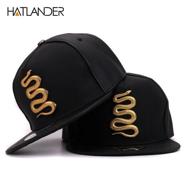 bfcedfdb7f2 Hatlander Women Leather Baseball Caps Daft Rapper Rock Snapback Cap Flat  Hats Jazz Golden Snake Punk Black Hip Hop Caps For Men
