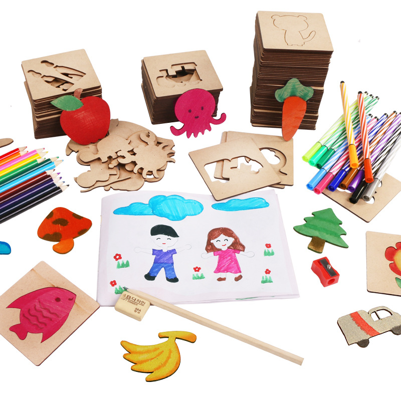 50 Pcs Kids Toys Early Education DIY Drawing Fun Stencils for Painting Coloring Board Puzzle Doodle Toys Wooden Paint Drawing