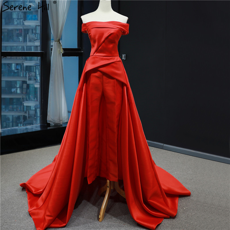 Methodical Red Boat Neck Simple Sexy Prom Dresses 2019 Latest Design Satin Off Shoulder Jumpsuit Prom Gowns Serene Hill Hm66846 Commodities Are Available Without Restriction Weddings & Events