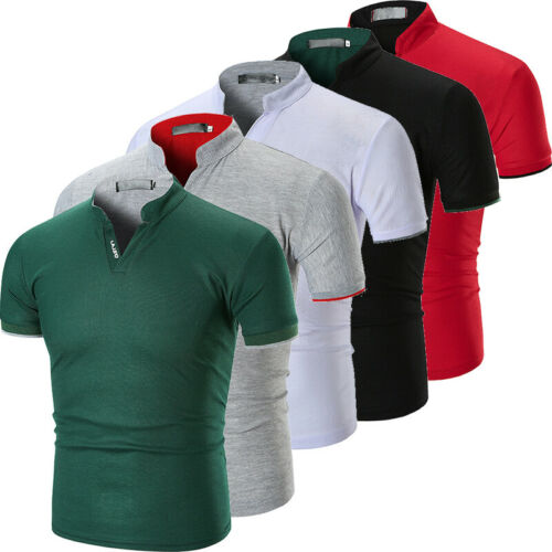 AU Mens Slim Fit Short Sleeve V-Neck Casual Cotton T-Shirt Tops Muscle Summer Tee Shirt