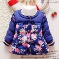 2016 маленький цветок зима ребенок девочка с капюшоном верхней одежды ребенка Корейский хлопок теплая куртка дети толстые мода парки детская одежда Q162
