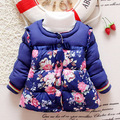 2016 small flower winter kid girl hooded outwear baby Korean cotton warm jacket children thick fashion parkas child clothes Q162
