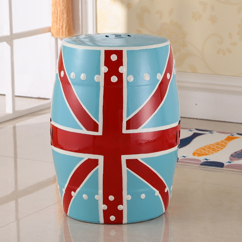 Chinese decorative home and garden ceramic porcelain stool with United Kingdom Flag design