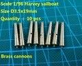 Бесплатная доставка ЧПУ латунь наборы классический латунь пушки для Масштаба 1/96 ХАРВИ 1847 парусник модель 10 шт./лот