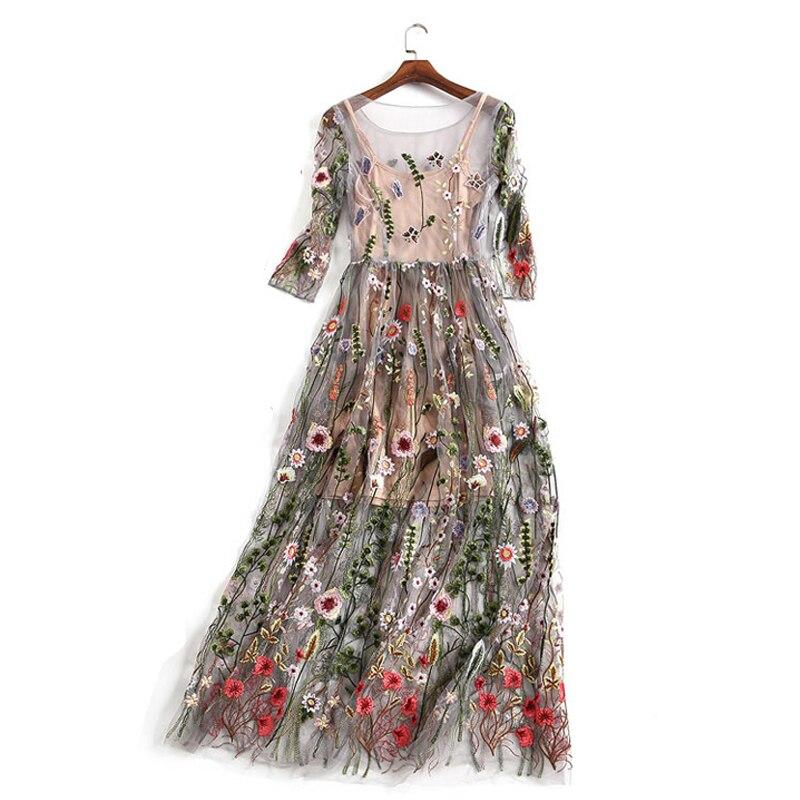 3e830386f3e Bamskarosa Runway 2019 Evening Party Dresses Gorgeous Half Sleeves Sheer  Mesh Embroidery Boho Bohemian Long Dress