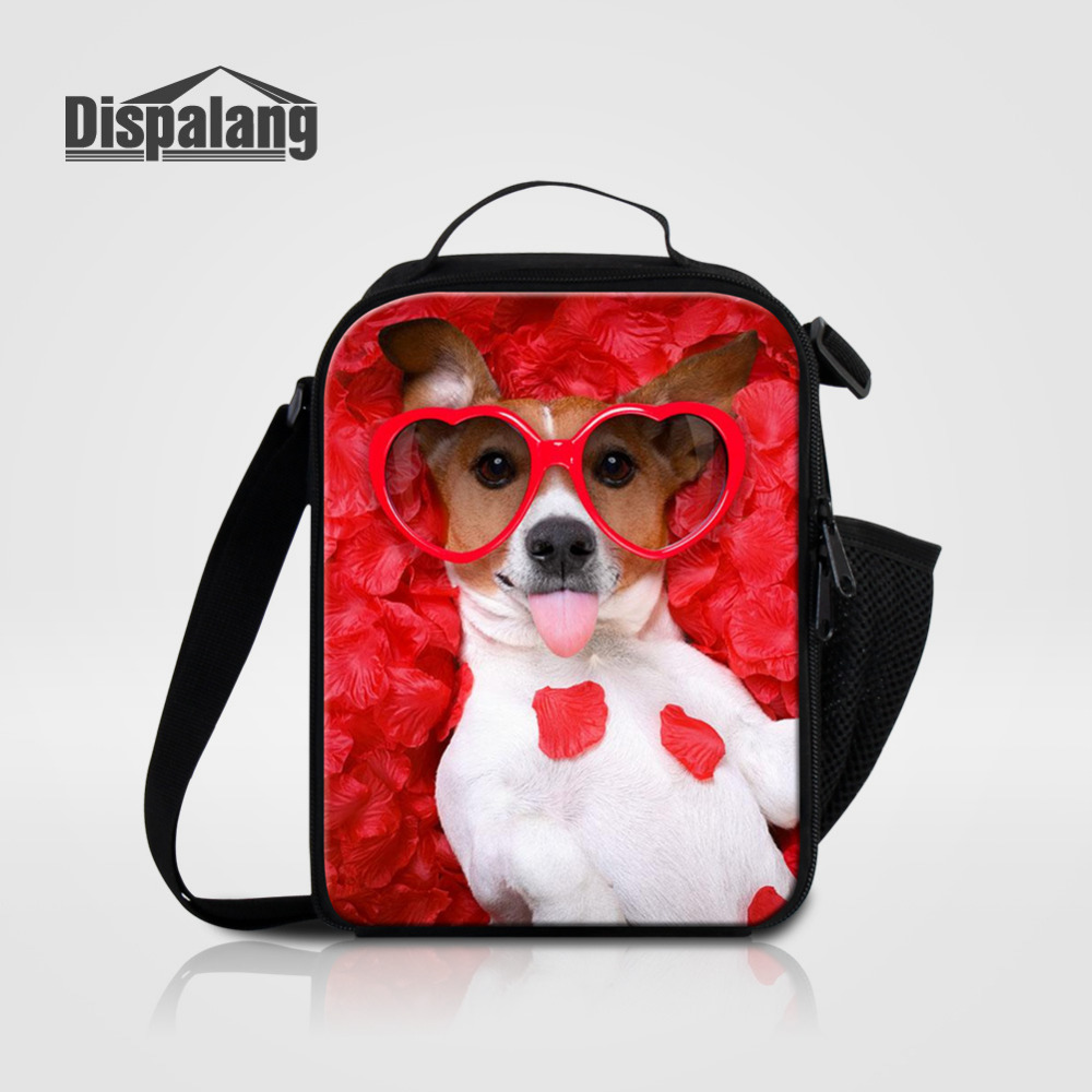 Dispalang Thermal Lunch Bags for Women Insulated Cooler Bag Tote Cute Dog wear Glasses Kids Girls Portable Picnic Food Container