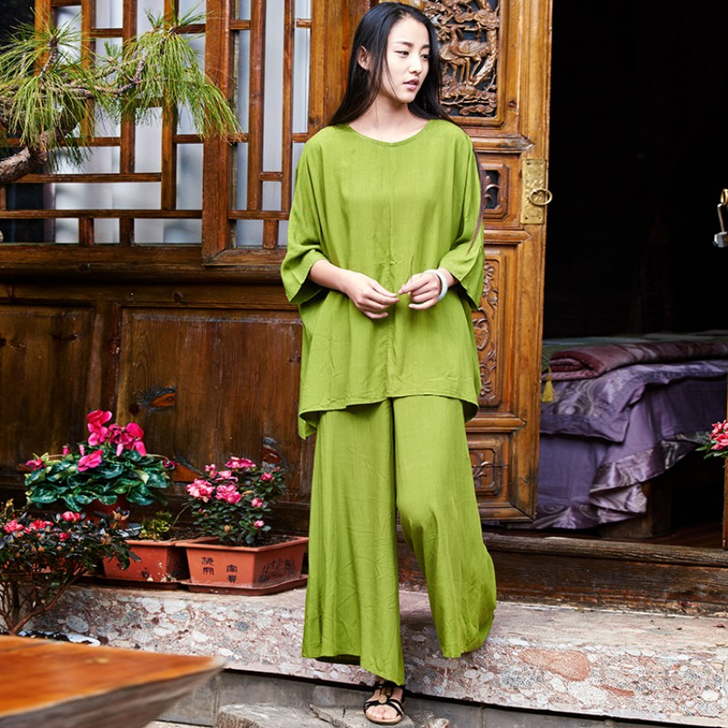 Solid Red Green Linen 2 piece Women Sets Blouses Pants Plus ...