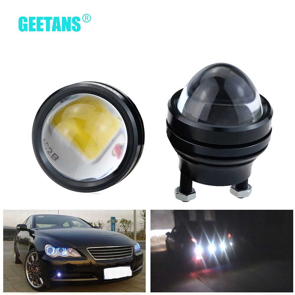 GEETANS 2PCS 15W 12V Car DRL Fish Eye Light LED Fog Lights Daytime Running Light Reverse Parking Light Lamp 100% waterproof E geetans newest 10pcs led eagle light eye car fog light drl daytime running lights reverse backup signal parking black silver be